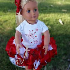 Birthday Tutu Princess American Doll and Me Tutu Set Matching Embroidery Embroidered Red White Pink Princess Birthday Tee Dolly Set by InspiredFlair on Etsy