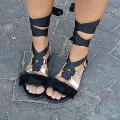 Fur Gladiator Sandals