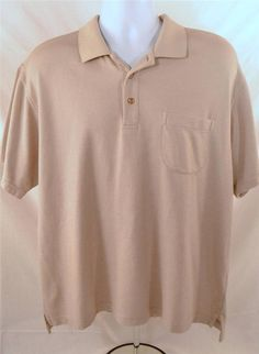 IZOD Mens Size Large Short Sleeve Pima Cotton Tan Golf Shirt #IZOD #GOlf