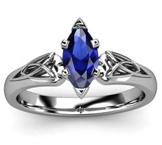 Blue Sapphire Marquise Triquetra Celtic Ring