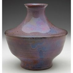 """Pewabic vase unusual flaring shouldered shape covered in a very good purple and brown iridescent glaze, marked, 5.5""""w x 5""""h"""
