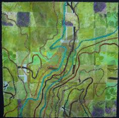 Element Quilt-Earth View by Barbara at Material Mavens. Made to show the topography of Mission Trails Regional Park (California)