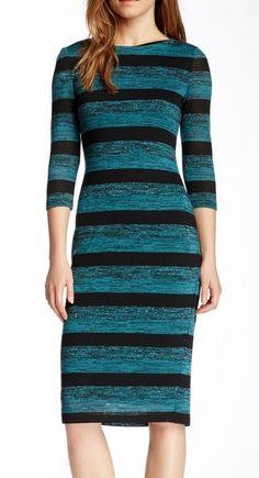 Maggy London 3/4 Sleeve Stripe Midi Dress