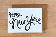 NEW happy new year 2013 black & gold card. $4.00, via Etsy by Betsy Ann Paper