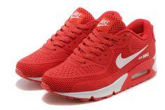 Nike Air Max 90 zapatos de los hombres blancos rojos
