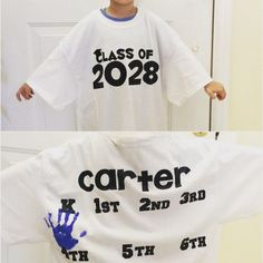 Handprint graduation tshirt memory shirt hand print tracker class of starting kindergarten gift shirt grow with me gift