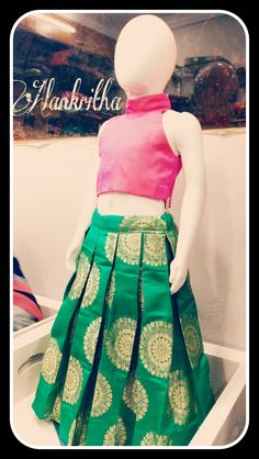 Banaras lehenga with silk top Long Frocks For Kids, Frocks For Girls, Dresses Kids Girl, Girl Outfits, Kids Dress Wear, Kids Gown, Baby Girl Dress Patterns, Baby Dress Design, Kids Lehenga Choli