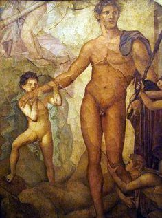 Herculaneum 'Basilica' - Fresco 'Theseus kissed by the youths rescued from the Minotaur'. AD 79 eruption