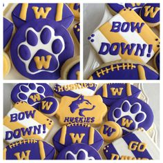 Go Huskies!! Dog Cookies, Sugar Cookies, Washington Huskies Football, Uw Huskies, Apple Cup, Football Cookies, Sport Cakes, University Of Washington, Disney Cakes