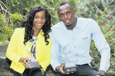 Olympic champions Shelly-Ann Fraser-Pryce and Usain Bolt after receiving their IAAF Athlete of the Year Awards.