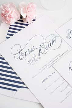 Navy Wedding Invitation - Navy Wedding Invites - Stripes, Blue, Elegant - Script Elegance Wedding Invitations by Shine Invitations