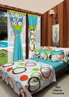 Disponible en cortinas, cojines, juegos de baño y sábanas en todas las medidas. #Atenas #Dalotex #Lenceria #Hogar #Sabanas #moda #colors #Blue #SabanasDalotex #Unicolor #Turquesa #Mandala #Circulos #hoops #mensfashion #Elegance #Aros #Brown #Orange #green Valance Patterns, Bed Cover Design, Designer Bed Sheets, Home Design Living Room, Bedroom Decor For Couples, Bed Sets, Curtain Designs, Indian Home Decor, Colorful Curtains
