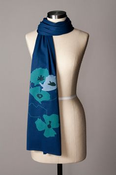jersey scarf  poppies scarf  navy blue scarf  screen by flytrap, $28.00