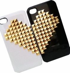 Amazon.com: DIY Punk Style Mobile Phone Protective Skin for iPhone 5 Mobile Twin Lover White Black Cover with Golden Studs and Spikes: Cell Phones & Accessories