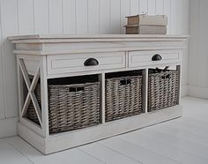 Seaside Cottage Storage Bench with baskets and drawers for hall furniture Hall Furniture, White Furniture, Bedroom Furniture, Furniture Design, Storage Bench With Baskets, Hallway Storage, Cottage Interiors, Interior Styling, House Design