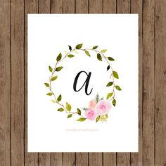 Floral watercolor wreath with black calligraphy initial, letter A. 8x10 digital printable.