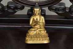 or Later Chinese Antique Gilt Bronze Buddha - antique chinese Antique Rare, Bronze, Chinese Antiques, Buddhism, Solid Brass, Or, Meditation, Statue, Vintage