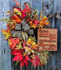 Fall Floral Wreath Autumn Wreath Fall Door Wreath by LeWreath