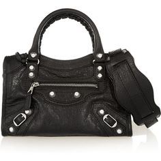 Balenciaga City mini textured-leather shoulder bag ($1,395) ❤ liked on Polyvore featuring bags, handbags, shoulder bags, black, mini purse, shoulder handbags, zipper handbag, black handbags and mini shoulder bag