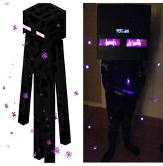A tutorial on how to create your own Minecraft Enderman Costume for Halloween with photos and video.