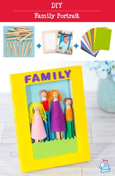Create mini characters out of wooden dolly pegs to make your own framed family portrait