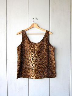 d8b2850b848b 90s Silk Tank Top Silk Blouse Brown Black Animal Print Top Black Animals,  Vintage Clothing