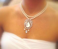 Swarovski pearl necklace bridal necklace with by treasures570