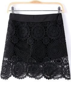 Black Hollow Floral Crochet Lace Skirt S.Kr.110.15