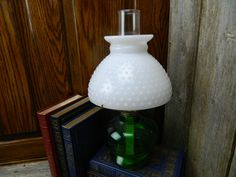 Antique Green  P & A  Desk lamp - Plume and Atwood - Kerosene Lamp by allthatsvintage56 on Etsy