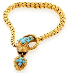 An English Victorian 15 karat gold bracelet with Persian turquoise and diamonds
