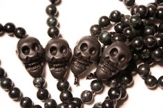 Black Labradorite Mala Beads with Skulls by QuietMind on Etsy, $65.00. Use coupon code CyberMon for 20% off!