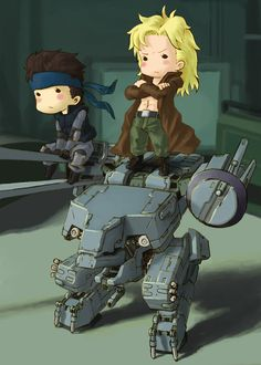 Chibi style Liquid, Snake and Metal Gear Rex.