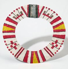 Africa | Collar from the Kamba people of Kenya | Glass beads and metal