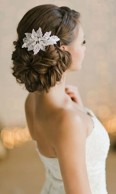 Bridal Updos And Wedding Hairstyle with Lace Headpiece