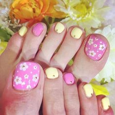 Pink and Yellow Flower Toe Nail Design