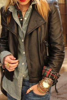 Leather Jacket, Chambre Shirt, Plaid Shirt, Layering, Gold Watch, Bracelet Stacking, Red Lipstick