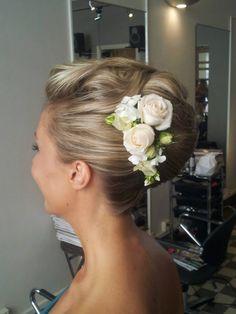 wedding hair  updo with flowers #tuuli okkonen