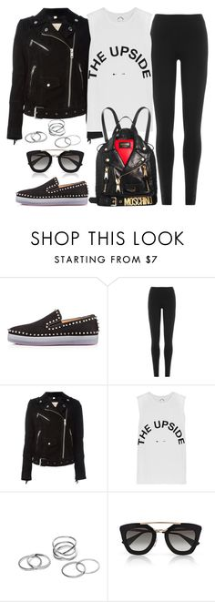 """Untitled #1373"" by mihai-theodora ❤ liked on Polyvore featuring Christian Louboutin, DKNY, Burberry, The Upside and Prada"