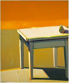 """The Absolutely Bulky Sunshine Table,"" Raimonds Staprans (Latvian/American, b. 1926), Oil on canvas, 60 x 50 in., 2003-2008"