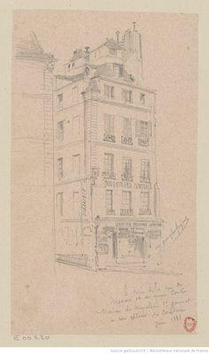 Le coin de la rue de Nevers et du quai Conti - Maison de Napoléon 1er général à son retour de Toulon : [dessin] / [Jules-Adolphe Chauvet]