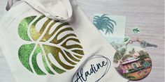 IZINK Diamond Or & Vert avec pochoir Feuille Tropicale Tote Bag, Scrapbooking, Recycling, Diamond, Bag Design, Support, Spring, Glitter Paint, Tropical Leaves