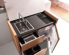 Small kitchen design, space saving modern kitchen cabinet from kitchoo micro cozinha, stove, Micro Kitchen, Compact Kitchen, Kitchen Small, Smart Kitchen, Camping Kitchen, Kitchen Modern, Minimalist Kitchen, Kitchen Living, Room Kitchen