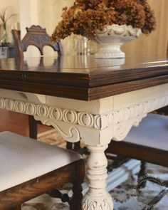 Using Annie Sloan Chalk Paint, you can update the design of your dining room by painting the legs of your table.