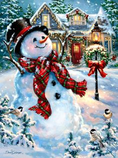christmas  snowman, birds, and house Dona Gelsinger