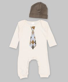 Look at this Ruff Truff Ivory & Brown Tie Playsuit & Beanie - Infant on #zulily today!