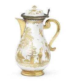 A Meissen silver-gilt-mounted Hausmaler hot water jug and cover, circa 1725-30