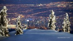 Night View of Vancouver B.C From the Top of Cypress Mountain