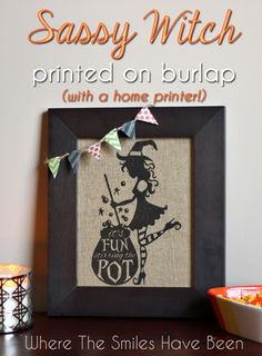 Sassy Witch Printed on Burlap (with a home printer!).  I edited an image from Silhouette America's online store then printed it out on burlap using my home printer.  Such a quick and easy DIY home decor project! #Silhouette #Halloween #burlap