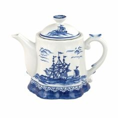 Blue Sails by Sadek is an exquisite teapot with a unique ruffled base.  The motif is all about ships and the blue and white theme is right in vogue for a beach house or as an accent for a variety of decors.  Dimensions: 8.50 x 8.25 x 9.00