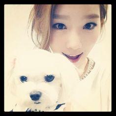 snsd taeyeon with tiffany's dog prince